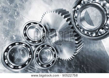 ball-bearings and cogwheels, aerospace parts of titanium and steel