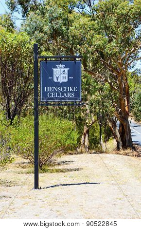Outdoor Signage To Henschke Cellars Winemakers, A Family-owned 147 Year Old Australian Winery, Locat