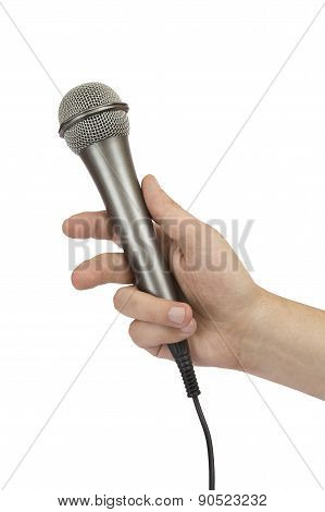 Male Hand Holding A Microphone