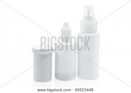different drugs in tablets and ampules isolated over white background