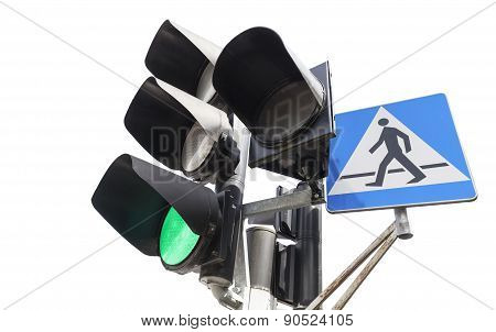 Traffic Lights And Pedestrian Crossing Sign.