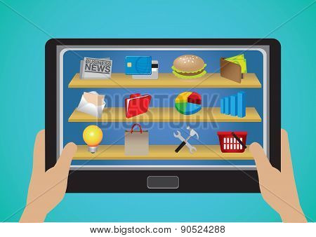 Hand Holding Tablet With Business And E-commerce Apps Icons