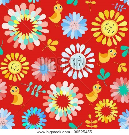 Seamless Pattern With Cute  Flowers And Birds. Colorful Vector Background . Bright Vector Template