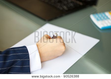 Businesswoman Hand In Formal Wear Write On Paper