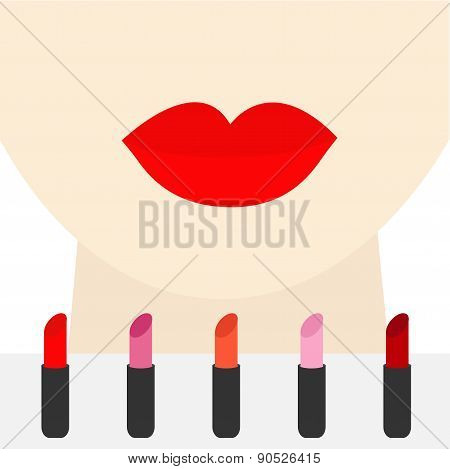 Woman Face With Big Thick Red Lips And Neck Lipstick Rouge Set Template Flat Design