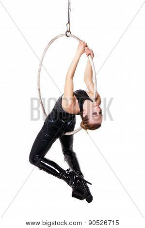Sexy Woman In Latex Catsuit Hanging On Aerial Loop