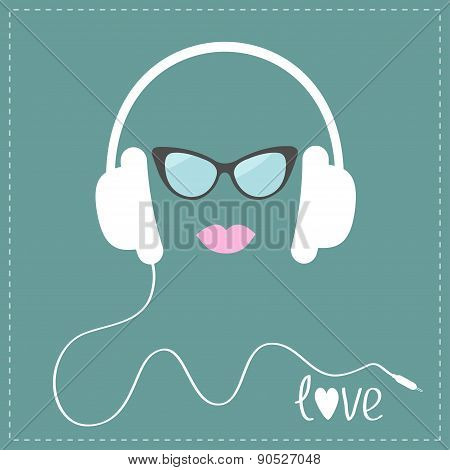 White Headphones With Cord. Sunglasses And Pink Lips Love Music Card. Flat Design