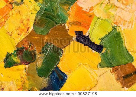 Oil painting abstract brushstrokes closeup