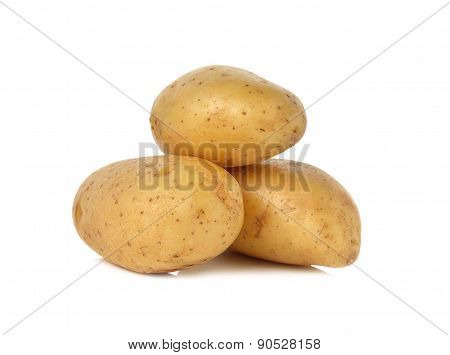 Closeup Unpeeled Fresh Potato On White Background