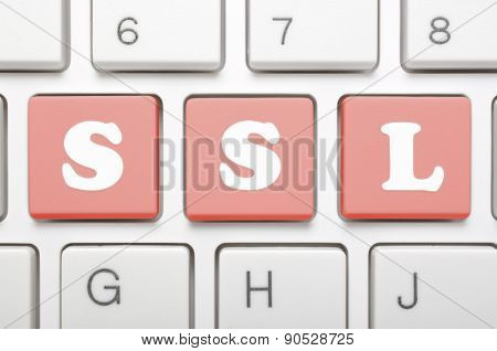 Red ssl key on keyboard