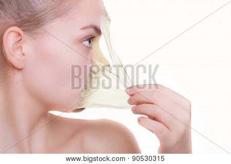 Face Profile Woman In Facial Peel Off Mask. Peeling. Beauty Body Skin Care. Isolated