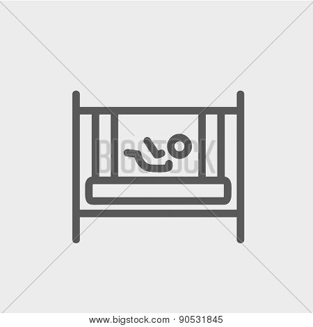 Baby inside the crib icon thin line for web and mobile, modern minimalistic flat design. Vector dark grey icon on light grey background.