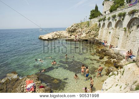 People On Beach In Rovinj