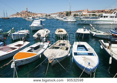 Boats With Town Of Rovinj In Background