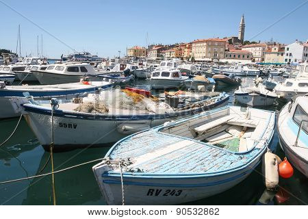 Large Group Of Boats In Rovinj