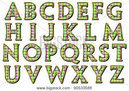 Mardi Gras Harlequin Alphabet