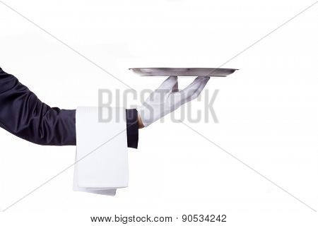 Waiter hand holding a empty silver tray, isolated on white background