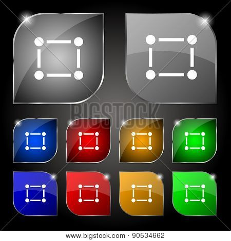 Crops And Registration Marks Icon Sign. Set Of Ten Colorful Buttons With Glare. Vector