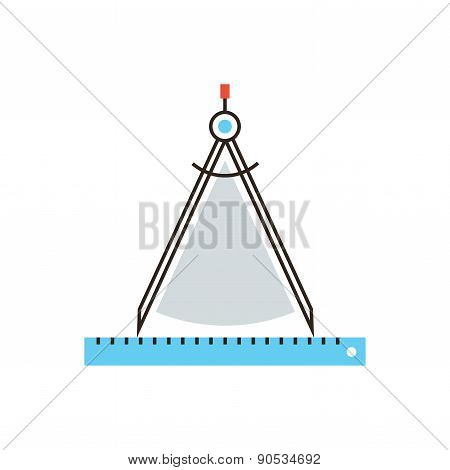 Drawing Compass Flat Line Icon Concept