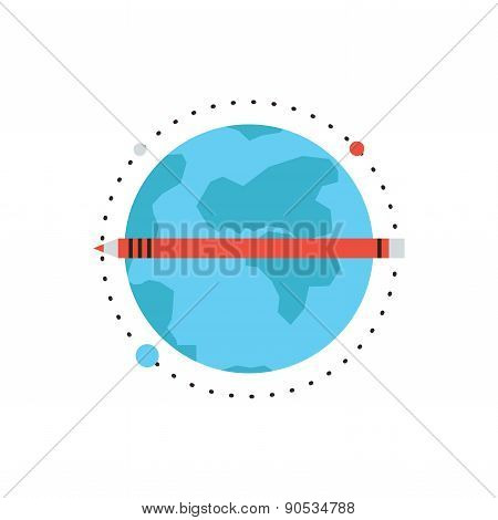 Global Education Flat Line Icon Concept