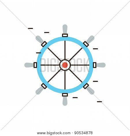 Steering Wheel Flat Line Icon Concept