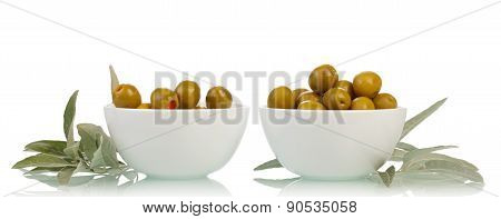 Bowl with olives isolated