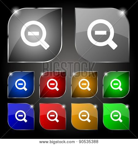 Magnifier Glass, Zoom Tool Icon Sign. Set Of Ten Colorful Buttons With Glare. Vector