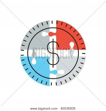 Money Solution Flat Line Icon Concept