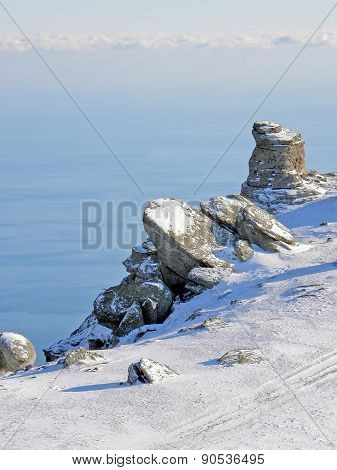 Rock And The Sea In Winter
