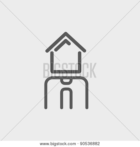 Real estate agent icon thin line for web and mobile, modern minimalistic flat design. Vector dark grey icon on light grey background.