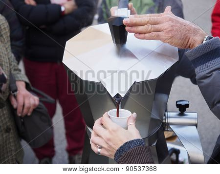 Offering free coffee