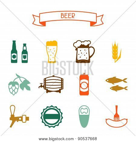 Beer icon and objects set for design
