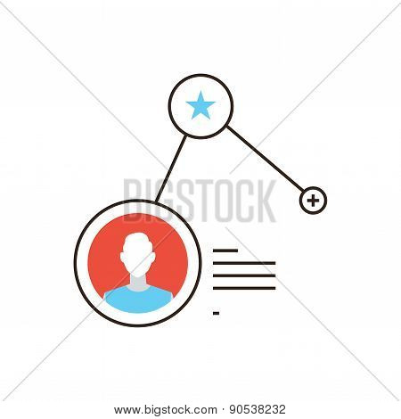 Add Social Friend Flat Line Icon Concept