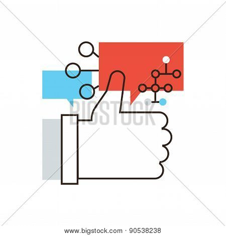 Social Networking Flat Line Icon Concept