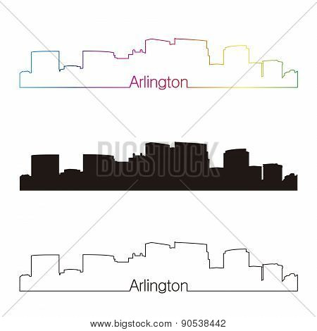 Arlington Skyline Linear Style With Rainbow