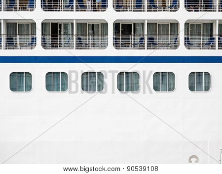 Windows And Verandas On Side Of Ship