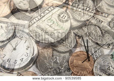 Clocks and American currency. Time is money