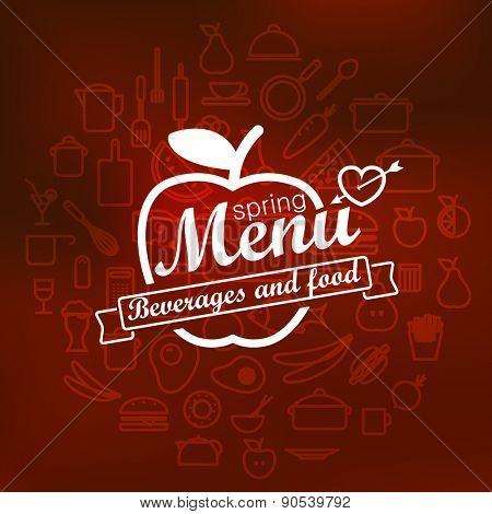 Spring menu label design. Vector lineart concept
