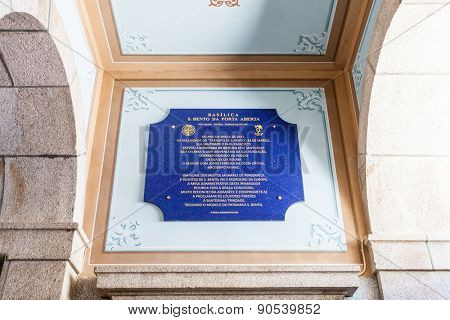 Sao Bento da Porta Aberta, Portugal. April 06, 2015: The commemorative plaque exhibiting the promotion of the Sanctuary church to Basilica by Pope Francis on its 400th anniversary in March, 21st