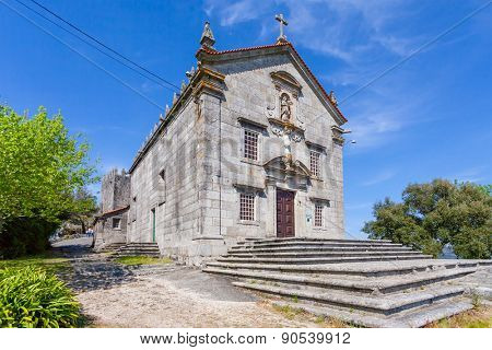 Povoa de Lanhoso, Portugal. April 06, 2015: Sanctuary of Nossa Senhora do Pilar. Built with stones of the nearby castle, which is connected to the Portuguese independence. Baroque, Mannerist.