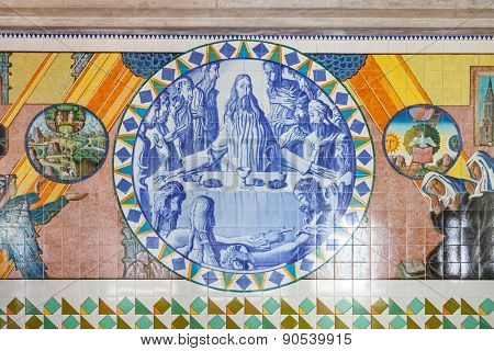 S. Bento da Porta Aberta, Portugal. April 06, 2015: Last Supper. Crypt tiles showing Bible and St Benedict life. Pope Francis raised the Sanctuary to Basilica in its 400th anniversary on March 21st