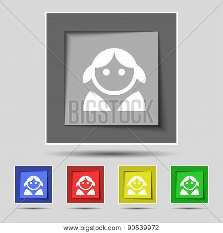 Female, Woman Human, Women Toilet, User, Login Icon Sign On The Original Five Colored Buttons. Vecto