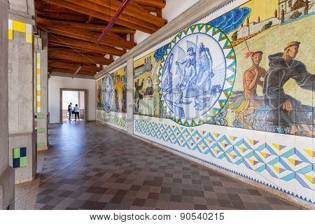 S. Bento da Porta Aberta, Portugal. April 06, 2015: Crypt tiles with Bible and St Benedict life passages. Pope Francis promoted the Sanctuary to Basilica in its 400th anniversary on March 21st