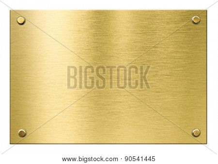 gold or brass metal plaque with rivets isolated
