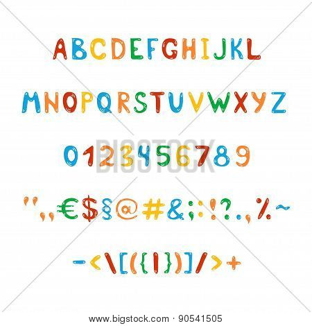 Fun And Cute Children's Alphabet And Figures