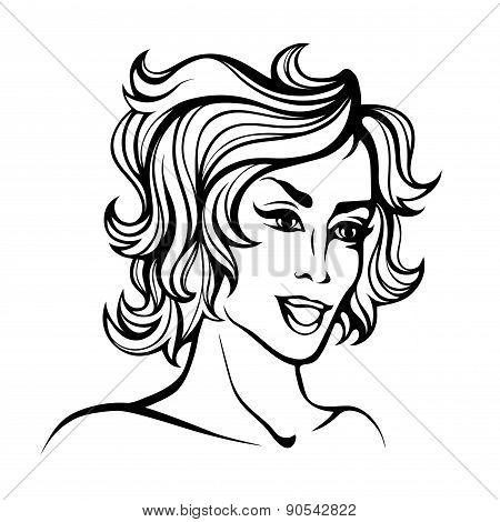 Vector stylized portrait of cartoon pretty fashion girl with short curly hair isolated on white