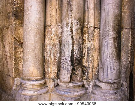 Columns At The Entrance To Church Of The Holy Sepulchre - Main Pilgrimage Destination Contains Golgo