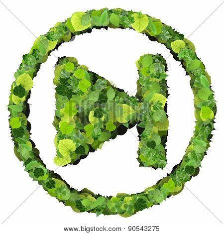 Media control step backward / forward icon, made from green leaves