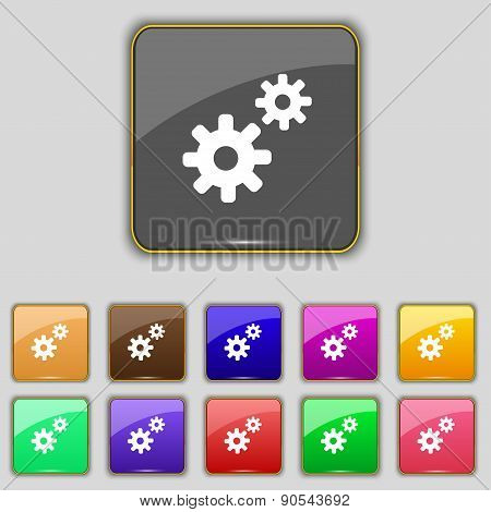 Cog Settings,  Cogwheel Gear Mechanism Icon Sign. Set With Eleven Colored Buttons For Your Site. Vec
