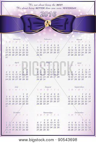 Elegant calendar for 2016 with inspirational message